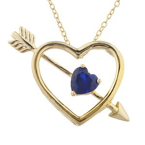 Jewelry - 14Kt Yellow Gold Sapphire Heart Bow Arrow Pendant
